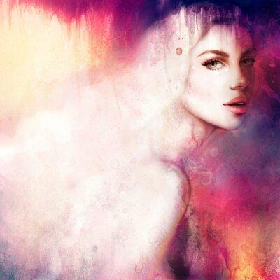 Bild Schöne Frau Porträt. Handgemalte Art und Weiseabbildung