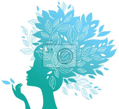 Schöne Frau Silhouette mit Blumen