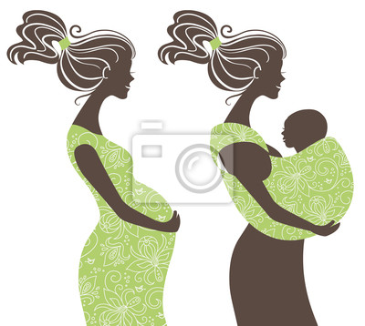 . Schöne Frauen Silhouetten. Schwangere Frau und Mutter mit bab