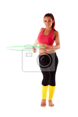 Schone Gesunde Frau Fuhrt Ubungen Mit Hula Hoop Reifen