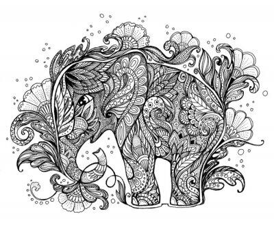 Bild Schöne handbemalte Elefant mit Blumenverzierung