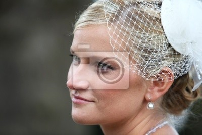 Schone Junge Braut In Weissen Hut Mit Schleier Net Leinwandbilder