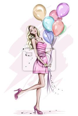 Schöne Junge Frau Mit Bunten Geburtstag Ballons Stilvolle Süße