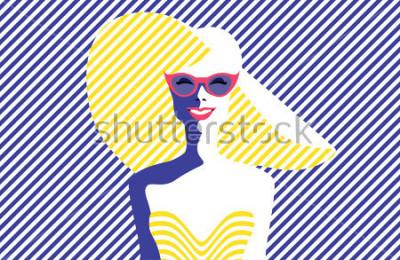 Bild Schöne junge Frau mit Sonnenbrille und Hut, Retrostil. Pop-Art. Sommerferien. Abbildung des Vektor eps10