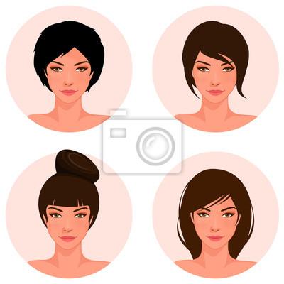 Schöne Junge Mädchen Mit Verschiedenen Frisur Leinwandbilder