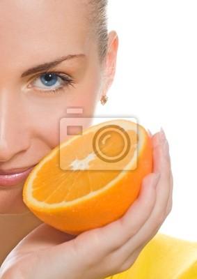 Bild Schöne Mädchen mit saftigen Orange