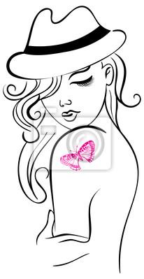 Schöne Mädchen mit Schmetterling