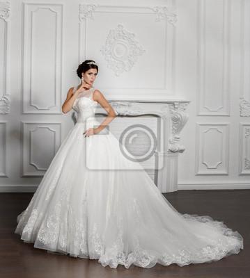 Schone Mode Braut In Luxus Hochzeitskleid Leinwandbilder Bilder
