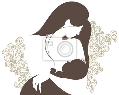 Schöne Mutter-Silhouette mit Baby