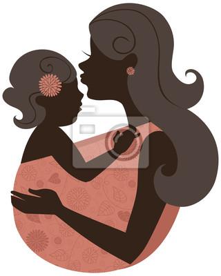 Schöne Mutter Silhouette mit Baby in einem Tragetuch