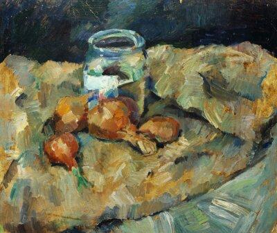 Bild Schöne Original-Ölgemälde von noch Leben .. Töpfe Glühbirne auf Stoffen Auf Leinwand in gelben und blauen Farben im Stil des Impressionismus