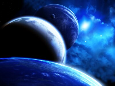 Bild Schöne Raum-Szene mit Parade von Planeten und Nebel