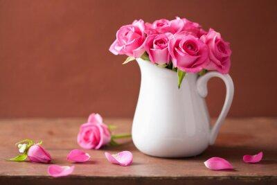 Bild Schöne rosa Rosen Bouquet in Vase