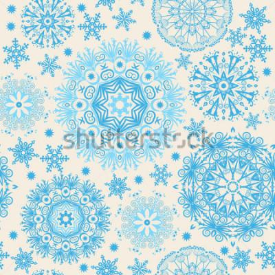 Bild Schöne Schneeflocken Abstrakter nahtloser Hintergrund mit modischen Elementen. Vektormuster für Webdesign, Gewebe, Grafikdesign.