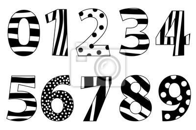 Schöne Schwarze Und Weiße Zahlen Gesetzt Leinwandbilder Bilder