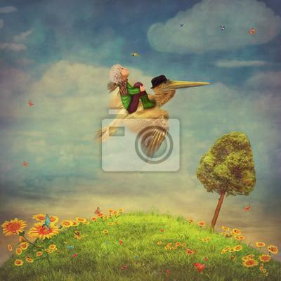 Schöne Sommerlandschaft mit Schmetterlingen, grünes Feld, Himmel und Sonnenblumen. Der kleine Junge und brauner Pelikan in den Himmel
