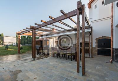 schone terrasse lounge mit pergola bilder myloview