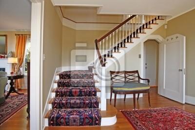 Luxus Teppich schöne treppe mit luxus-teppich leinwandbilder • bilder holzfußboden