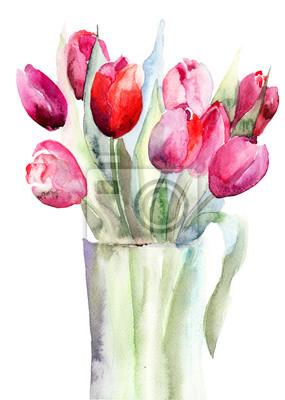 Schöne Tulpen Blumen, Aquarellmalerei