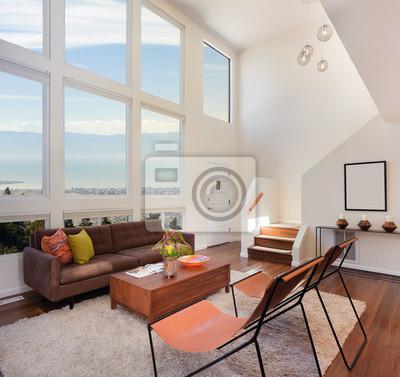 Schöne und große wohnzimmer mit holzböden in leinwandbilder • bilder ...