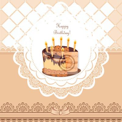 Schone Vintage Karte Auf Geburtstag Mit Kuchen Leinwandbilder