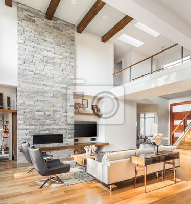Schone Wohnzimmer Interieur Mit Parkettboden Gewolbte Decke