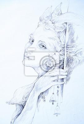 Schöne Zeichnung von Elfen Fee Kreatur mit Glöckchen, mon