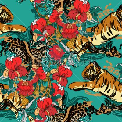 Bild Schöner abstrakter Tiger mit roten Blumen und Tendenzmuster nahtlos. Design Stoff.