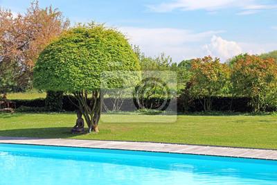 Top Schöner garten mit pool leinwandbilder • bilder Wasserrand BO91
