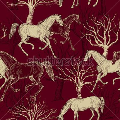 Bild Schöner Hintergrund der Weinlese mit Pferden und Bäumen, kreativer Wald, Retro- nahtloses Muster, Kunstgewebe, Fantasievektortapete für Dekoration und Design