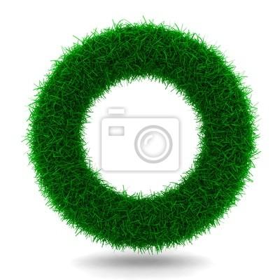 Schöner Ring aus Gras isoliert auf weiß