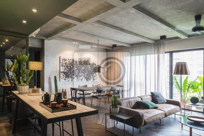 Bild Schöner zeitgenössischer Wohnzimmerausgangsinnenraum.