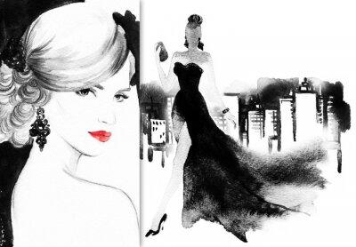 Bild Schönes Gesicht. Frau mit elegantem Kleid. Abstrakte Aquarell .fashion Hintergrund