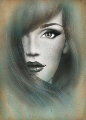 Bild Schönes Gesicht. Frau Porträt. Abstrakte Aquarell .fashion Hintergrund