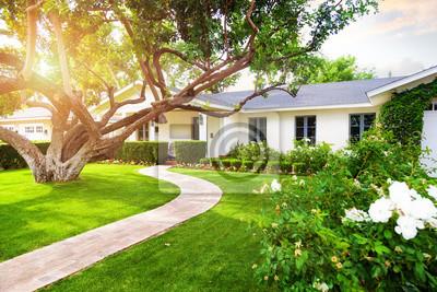 Bild Schönes Haus mit grünem Gras Hof