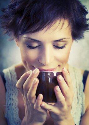 Bild Schönes Mädchen Mit Tasse Kaffee