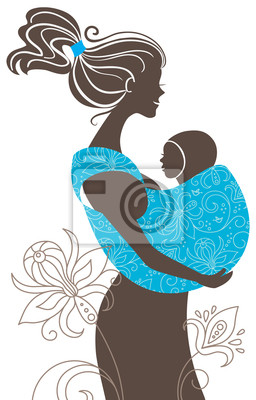 . Schönes Mutter-Silhouette mit Baby im Tragetuch