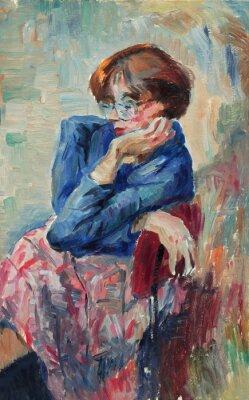 Bild Schönes ursprüngliches Ölgemälde des Porträts einer hellen Farben der Frau Auf Segeltuch in der Impressionismusart