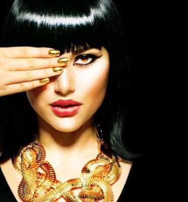 Bild Schönheit Brunette ägyptischen Woman.Golden Zubehör