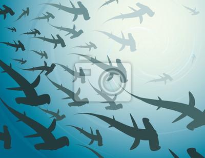 School of Hammerhaie - Vektor-Illustration