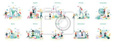 Bild School subject set. Idea of education and science