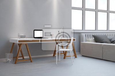 Schreibtisch als home office im wohnzimmer leinwandbilder ...