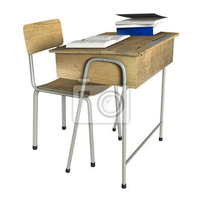 Schule Schreibtisch Leinwandbilder Bilder Isoliertes Objekt