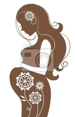 Schwangere Frau in der Blumen