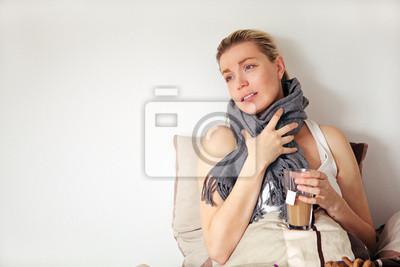 Schwangere Frau mit der Grippe