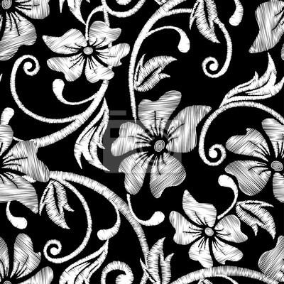 Schwarz und weiß hibiskus tropische stickerei floral nahtlose ...