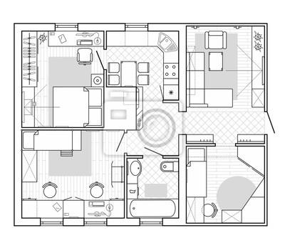 Bild Schwarz Weiß Architektonischen Plan Eines Hauses. Layout Der Wohnung  Mit Den Möbeln