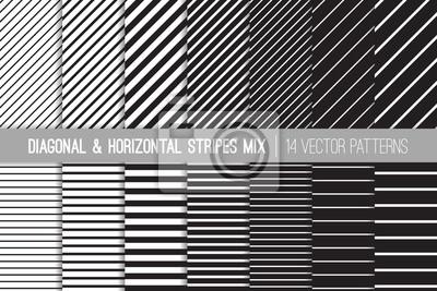 Bild Schwarz-Weiß-diagonale und horizontale Streifen Vektor-Muster. Moderne gestreifte Hintergründe. Set von Pin Stripes und Candy Stripes. Variable Dickenlinien. Muster Fliesenmuster enthalten.