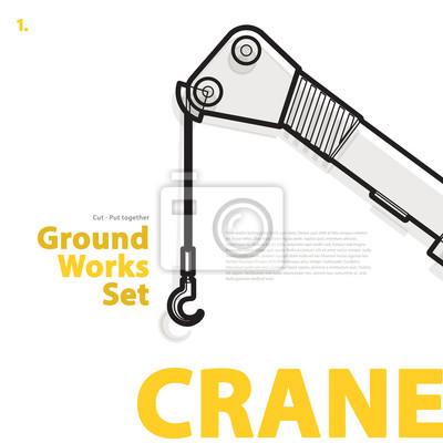 Schwarz-weiß-draht-typografie satz von bodenarbeiten maschinen ...