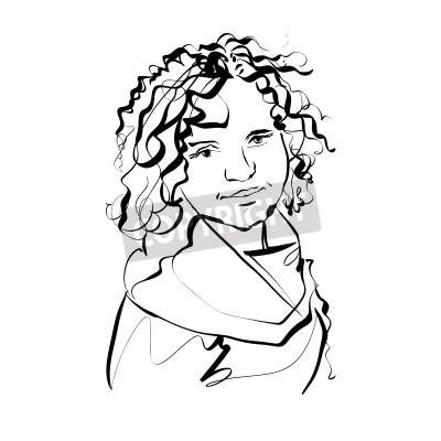 Schwarz Weiss Hand Gezeichnet Illustration Einer Frau Madchen